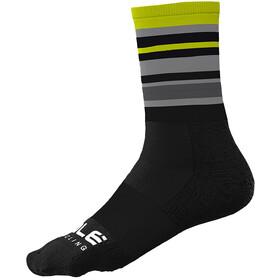 Alé Cycling Stripes Q-Skin Socks 16cm Men, black/fluo yellow